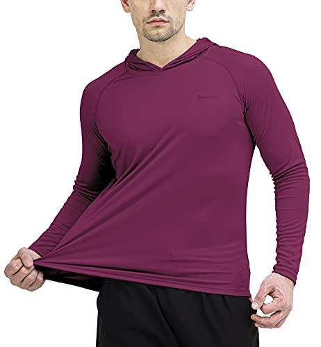 Men's UPF 50+ Sun Protection Hoodie Outdoor Long Sleeve T-Shirt for Running, Fishing, Hiking Purple