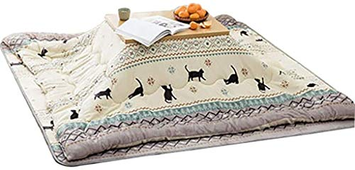 BESTPRVA Kotatsu Blanket Kotatsu Tables, Folding Tatami Coffee Table, Thickened Japanese Stove Futon Set (Color : White, Size : 170 * 155cm(65 * 45 * 38cm))