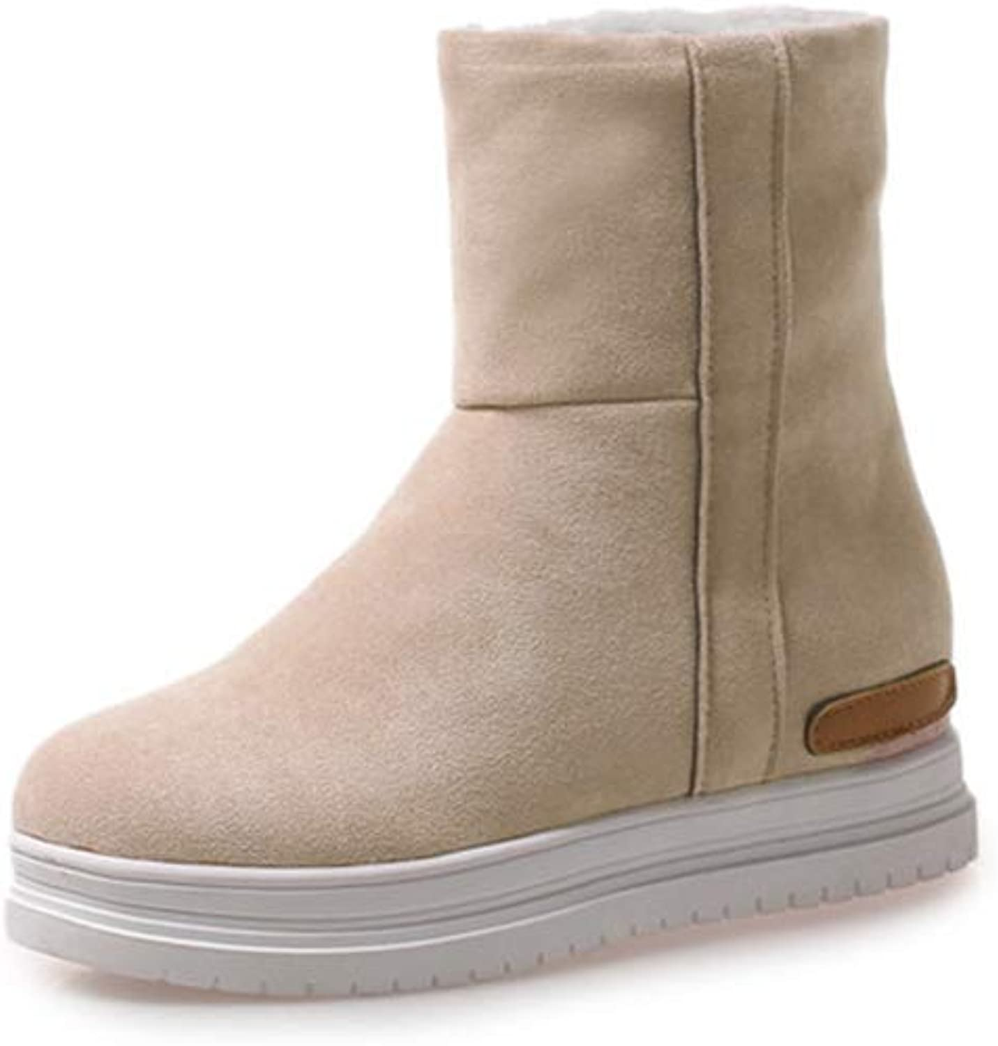 T-JULY Fashion Snow Boots Women Round Toe Flock Ankle Boots Keep Winter Slip on Dress Warm Winter Boots