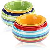 com-four® 2X Posacenere Antivento Realizzato con Le Migliori Ceramiche Dolomitiche, Portacenere in Ceramica in Verde e Arancione con Strisce Colorate (002 Pezzi - Mix1)