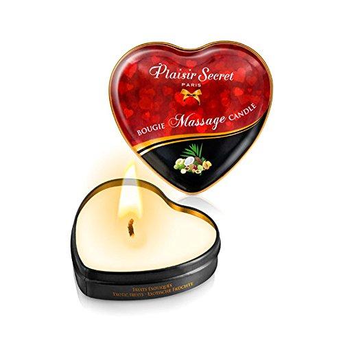 Vela Masaje Erótico Comestible y Afrodisíaca con Aroma Frutas Exóticas 35 ml. En lata con forma de corazón – Plaisirs Secrets Paris