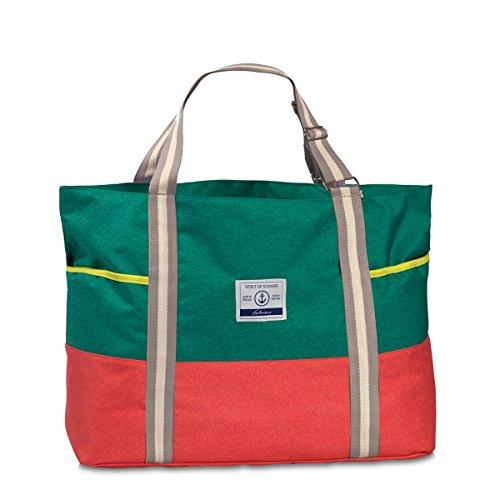 XL Badetasche Sauna Freizeit Tasche 2-farbig Melange Stoff Umhängetasche mit Reißverschluss Schulter-/ Tragetasche Grün Rot