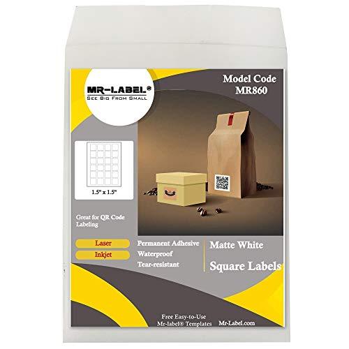 "Mr-Label 1.5"" x 1.5"" Square White Sticker Labels - Waterproof and Tear-Resistant - for Inkjet & Laser Printer - for Food Package   Gift Bag   Jar (10 Sheets Total 240 Labels)"