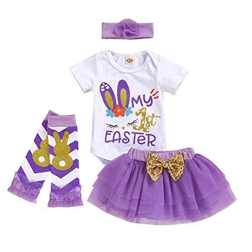 4PCS 0-12M babykleertjes tutu rokken Pasen baby kleding te stellen met korte mouwen eind september
