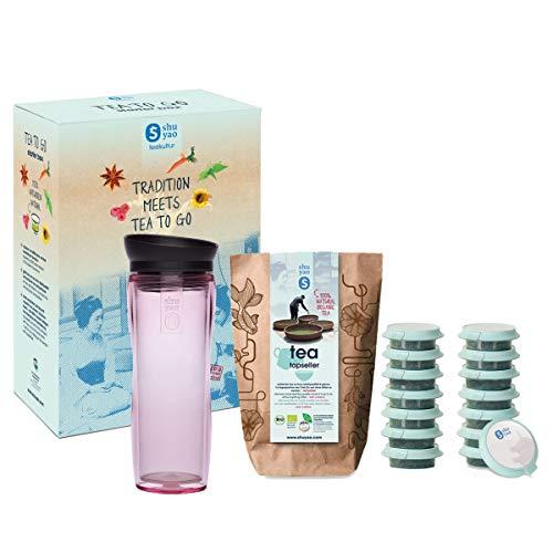 shuyao teekultur Shuyao Starterbox Tea to Go Thermobecher mit integriertem Teesieb + 5x3 Loser Bio Tee mit Koffein, Pink, 32