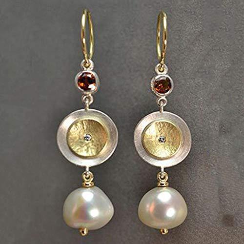 Erin Earring Pendientes Largos De Metal De Perlas Grandes De Moda para Mujer Pendientes De Boda/Ceremonia De Circón De Cristal Dorado Q4D288