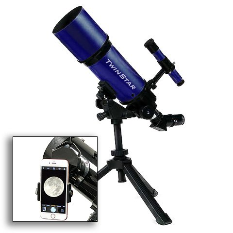 TwinStar 80mm Refractor Telescope 400mm Focal Length f/5.0 F | 25mm & 10mm Kellner Magnification eyepieces, Finding Scope and Tripod Included | Great for Beginners (Smarthphone Adapter Bundle, Blue)
