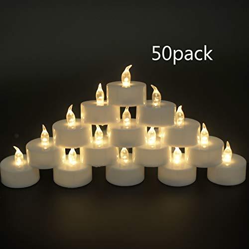 OSHINE 50unidades LED Velas Velas CR2032 pilas velas sin llama de iluminación eléctrica falso Vela para Hogar Navidad boda mesa regalo al aire libre cálido Luz blanca cálida