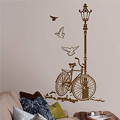 Adesivo murale lampione bicicletta decorazione della casa decalcomania della parete di arte soggiorno camera da letto decorazione della parete murale adesivo rimovibile in vinile 57 * 92 cm