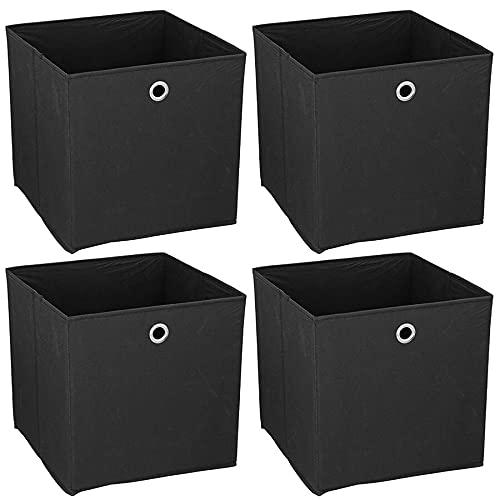 Murago - 4er Set Faltbox ca. 30x30x30 cm Schwarz Aufbewahrungsbox faltbar Aufbewahrungs Körbe Einschub Korb Boxen Box Stoff Regalkorb Klappbox Organizer