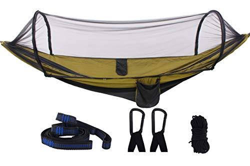 Sutekus Hammock with Mosquito Net Ultralight Double Hammock with Bug Netting, Large Hammock for Camping, Hiking, Garden, Yard, Backpacking (Khaki)