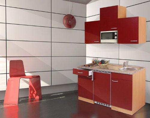 respekta Küchenblock 150 cm Buche Nachbildung rot Ceran inkl. Mikrowelle KB 150 BRMIC