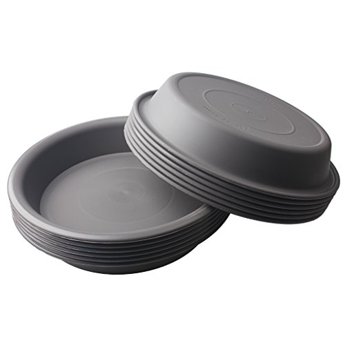 BangQiao 12 Pack 7.75 Inch Plastic Round Plant Pot Saucer Tray for Indoor and Outdoor Plants, Gray