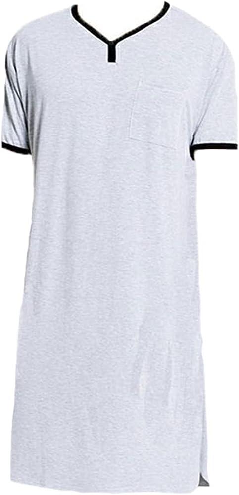ASHER FASHION Men's Nightgown Short Sleeve Sleepshirt Comfy Scoop Neck Tops Casual Pajama Tee Big & Tall Henley T-Shirt
