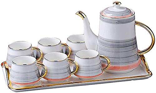 BaiJaC Teapot Japanese, Tea Set Nordic Ceramic Creative Coffee Cup Set Household Afternoon Tea Set Flower Tea Cup Kettle Set Ceramic Tea Sets