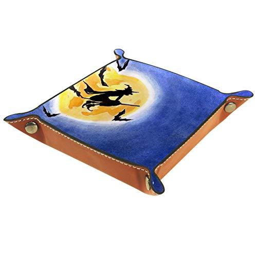Caja de almacenamiento pequeña, bandeja de valet para hombre,Bruja de Halloween montando un palo de escoba murciélago luna llena ,Organizador de cuero para llaves de caja de monedas