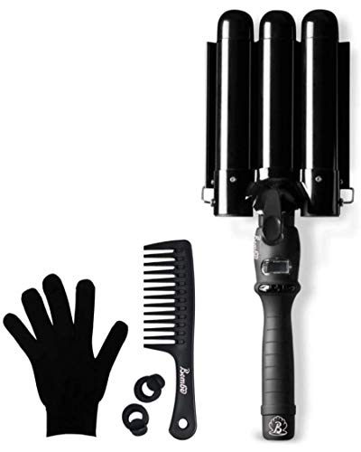 Lockenstab 3 Fässer 32mm, Bombé Waver, Haar Welleneisen, Lockenstab Große Locken, Lockenwickler Turmalin Keramik, Curling Iron Digitale Temperaturanzeige (SCHWARZ)