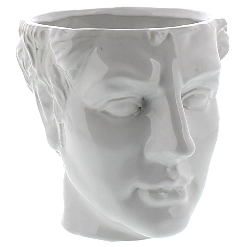 Grecian Ceramic Head Vase Male | Man Flower Cache Pot Sculpture Classical