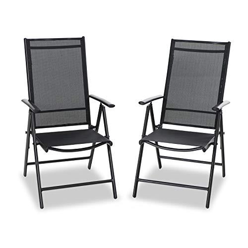 PHIVILLA 2er Sets Gartenstühle mit Aluminiumrahmen, 6X verstellbar mit 7 sitzpositionen Gartenstuhl Klappstühle hohe Rückenlehne Wetterresistent