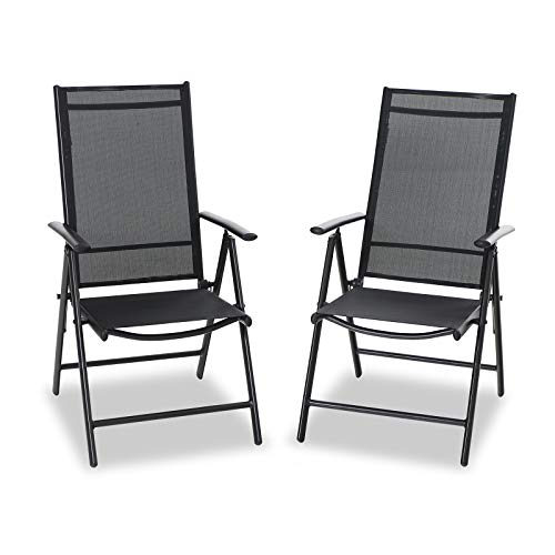 PHI VILLA Sets of 2 Garden Chair, Adjustable Folding Outdoor Garden Chair...