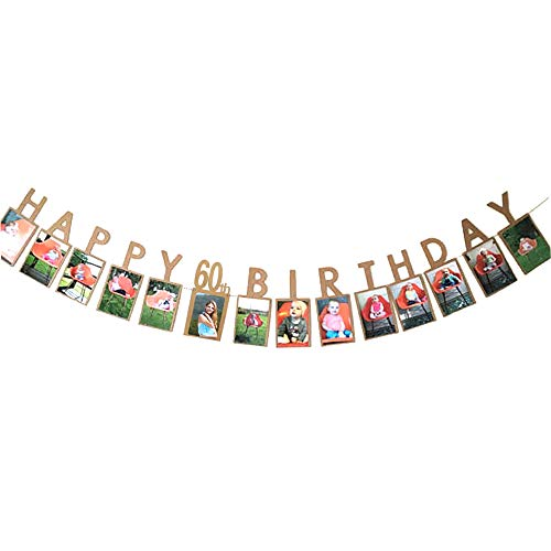 Happy 60th Birthday Thirty 60 Years Photo Banner for 60th Birthday Decoration Picture Bunting Kraft Paper