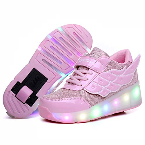 YCOMI Girls Boys LED Roller Shoes with Wheels Roller Skate Sneakers Led Roller Shoes, Pink, 32 M EU/1 M US Little Kid