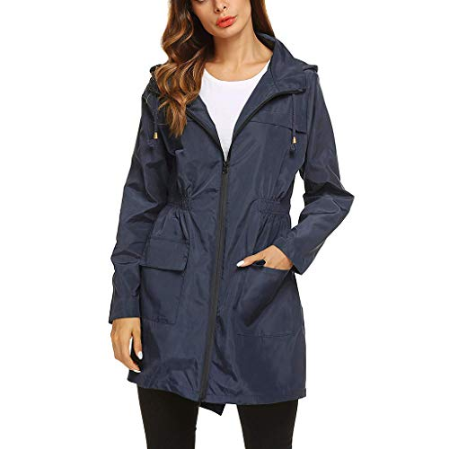 Dames Waterdicht en Ademend Hooded Jacket - Dames Lange Mouw Effen Regenjas Outdoor Regenjas Winddicht
