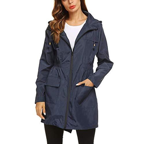 Dames Waterdicht en Ademend Hooded Jacket - Dames Lange Mouw Effen Regenjas Outdoor Regenjas Winddicht