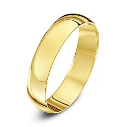Solid 9 ct gold (375 hallmark) ring, handmade using pure fine gold Manufactured in London (UK) Highly polished finish ensures a mirror-like shine D shape - A term used where the ring is curved on the outside and flat on the inside creating a D shaped...