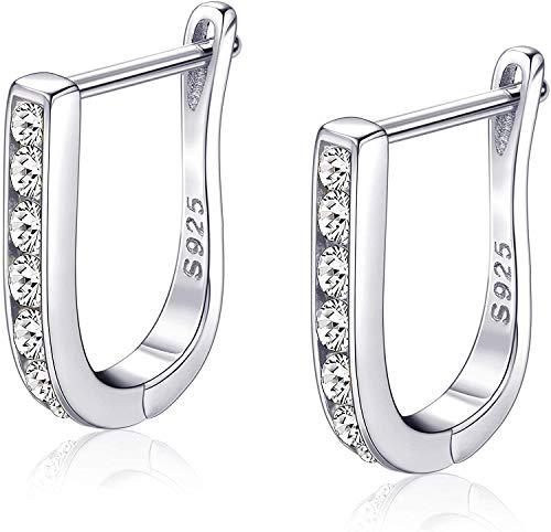 Milacolato 925 Sterling Silver Huggie Hoop Earrings for Women 14K Gold/White Gold/Rose Gold Plated Small Huggie Hoop Earrings U-Shape Earrings