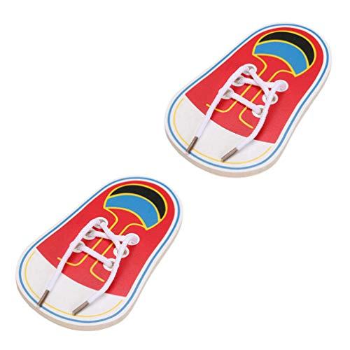 TOYANDONA 2 Piezas de Zapatos de Cordones de Madera Juguetes para Niños Que Aprenden a Atar Zapatos Juego de Mesa de Juguete para Roscar Juguetes Educativos para Niños Juguetes de Enseñanza