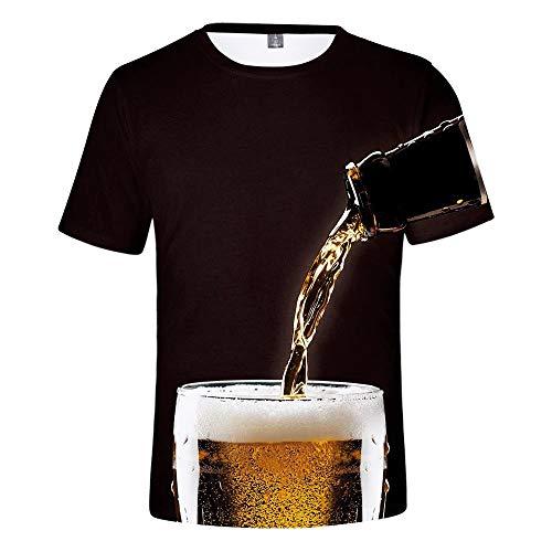 MAYOGO Oktoberfest Herren Hemd Baumwolle 3D Druck Tshirt Herren Karneval Bier Drucken T Shirts Männer Oktoberfest Kostüm Trägershirt Herren Baumwolle Oberteile Tops 3-D T-Shirt