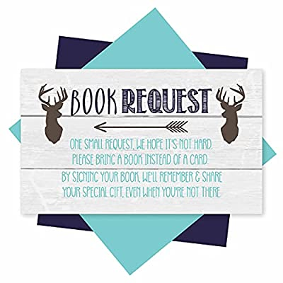 25 Books For Baby Shower Request Cards - Deer Baby Shower Invitation Inserts, Book Request Baby Shower Guest Book Alternative, Bring A Book Instead Of A Card, Baby Shower Book Request For Boys by Hadley Designs