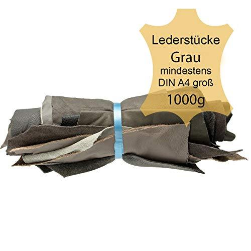 Langlauf Schuhbedarf ® 1kg Lederstücke Möbelleder Varianten von Grau - alle Stücke Mind. DIN A4 groß