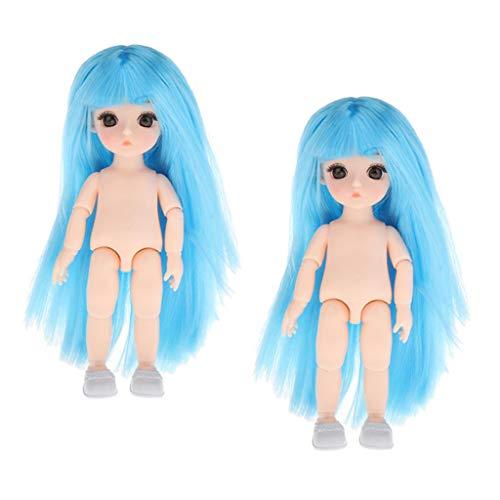 Harilla 2X 6 `` 1/12 Bambola BJD Corpo Nudo Pelle Bianca Capelli Blu Giocattoli per Bambini Forniture Fai da Te
