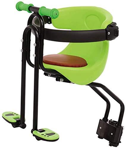 Asiento de bicicleta para niños Portabicicletas para niños con montaje frontal para bebés, Silla de bicicleta de montaña ajustable con absorción de impactos ultraligera con protector de reposabrazos