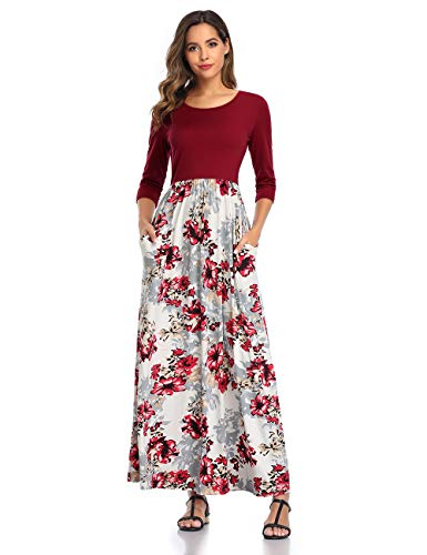 DUNEA Women's Maxi Dress Floral Printed Autumn 3/4 Sleeve Casual Tunic Long Maxi Dress (Large, Wine Red02) (Finding The Best Female Ankle Tattoos)