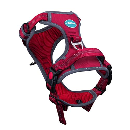 ThinkPet No Pull Harness Breathable Sport Harness with Handle - Reflective Padded Dog Safety Vest Adjustable Harness, Back/Front Clip for Easy Control L Red