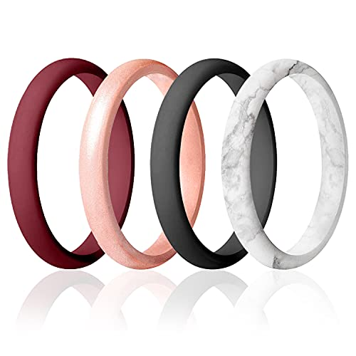 ROQ Silicone Wedding Ring for Women, Set of 4 Thin Stackable Silicone Rubber Wedding Bands Point- Maroon, Rose Gold, Marble, Black - Size 6