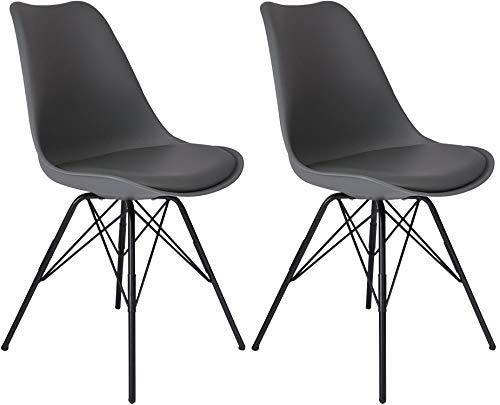 SAM 2er Set Schalenstuhl Lerche, Kunststoffschale in Grau, integriertes Kunstleder-Sitzkissen, Schwarze Metallfüße, Esszimmerstuhl im skandinavischen Stil