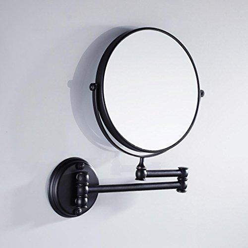 T TOOYFUL 1 Stück An Der Wand Montierter, Doppelseitig Verstellbarer Kosmetikspiegel Für Den Heimgebrauch - Schwarz, 20cm