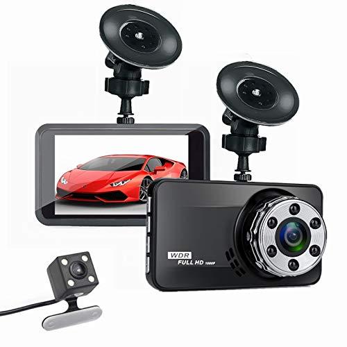 1080P Full HD Cámara de Coche, 3' Cámara de Coche Retrovisor para Automóviles 170° Gran Angular, Grabación Bucle, Monitor Aparcamiento, Pantalla LCD, G-Sensor