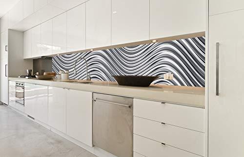 DIMEX LINE Küchenrückwand Folie selbstklebend SILBERNES WOGEN   Klebefolie - Dekofolie - Spritzschutz für Küche   Premium QUALITÄT - Made in EU   350 cm x 60 cm
