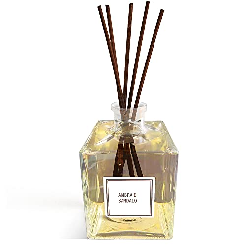 HOME KOKO LOOK Diffusore di fragranza per Ambienti Profumatore Ambiente Made in Italy 500 ml Diffusore Bastoncini Elimina Cattivi Odori Aromi Naturali Aromaterapia - Profumo Ambra e Sandalo