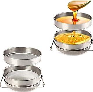 Novo Stainless Steel Double Sieve Honey Filter 9-Inchx1.8-Inch Honey Strainer