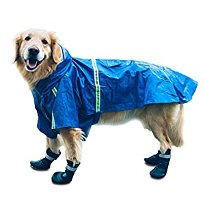 HIPIPET Dog Raincoat Adjustable Waterproof Rain Jacket Poncho Hoodies with Reflective Strip for Large and Medium Dogs