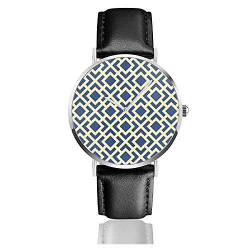 Midnight in Paris Classic Casual Fashion Reloj de cuarzo de acero inoxidable con correa de cuero