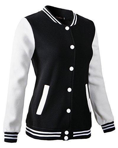 Women Varsity Baseball Jacket Casual Sweatshirt (6808 Black,US:M/Tag XL)