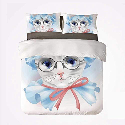 Popun Juego de Funda nórdica Cat Warm 3 Juego de Cama, Granny Grandma Old Kitty con su Pijama Antiguo y Gafas de Lectura Artsy para la habitación