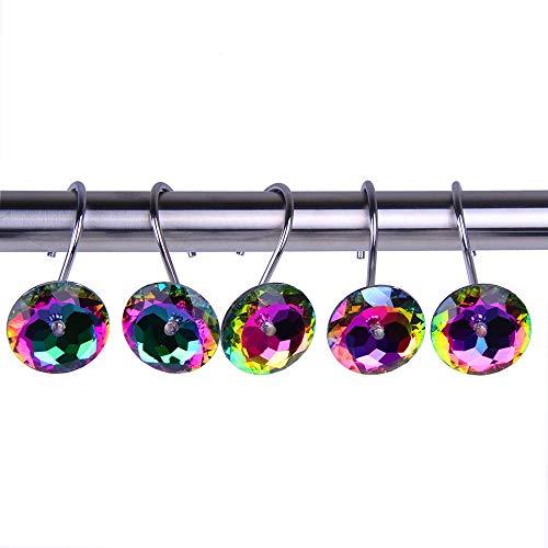 Adwaita Decorative Shower Curtain Hooks - Acrylic Crystal Rhinestones - Set of 12 (Multi)